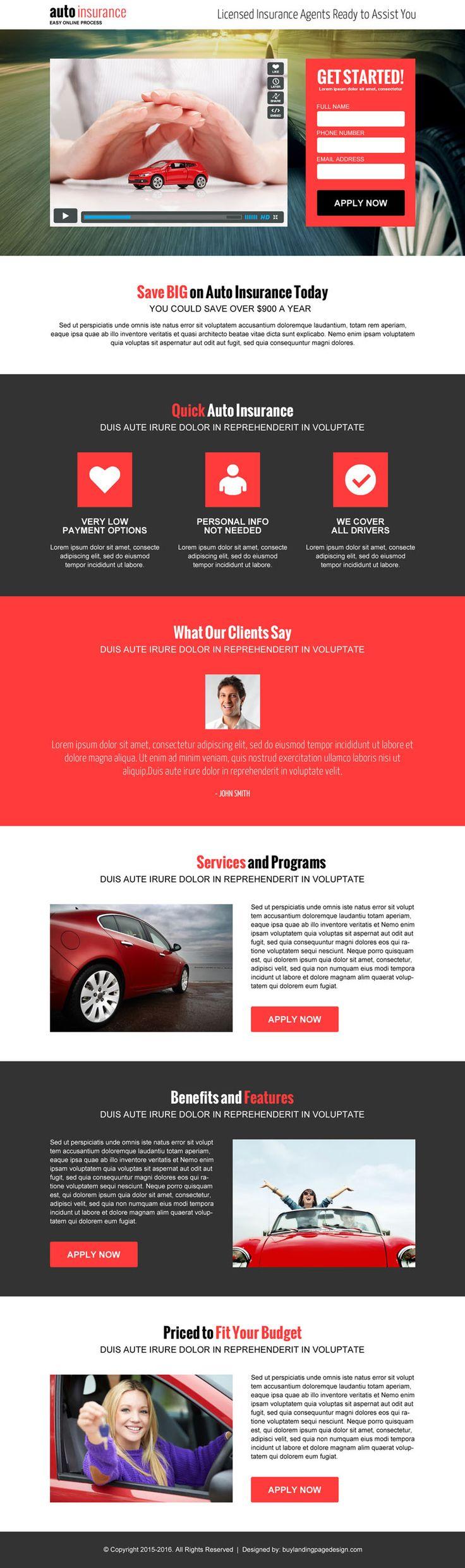 auto-insurance-video-responsive-lp-012 | Auto Insurance responsive landing page design preview.