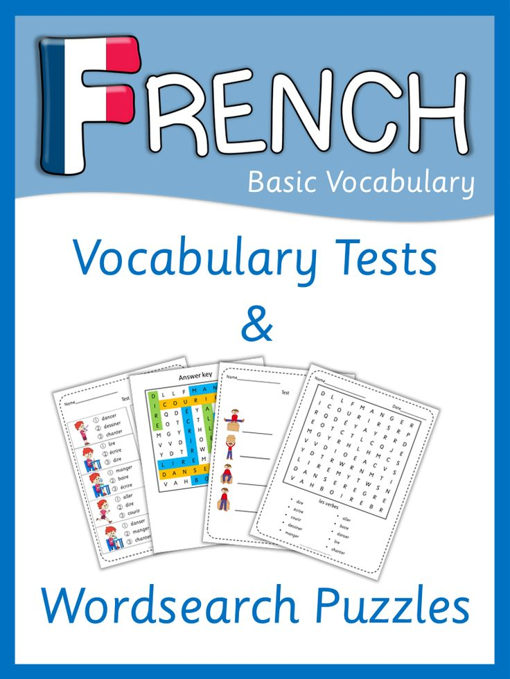 More that 200 pages of French vocabulary tests and wordsearch puzzles for beginners.
