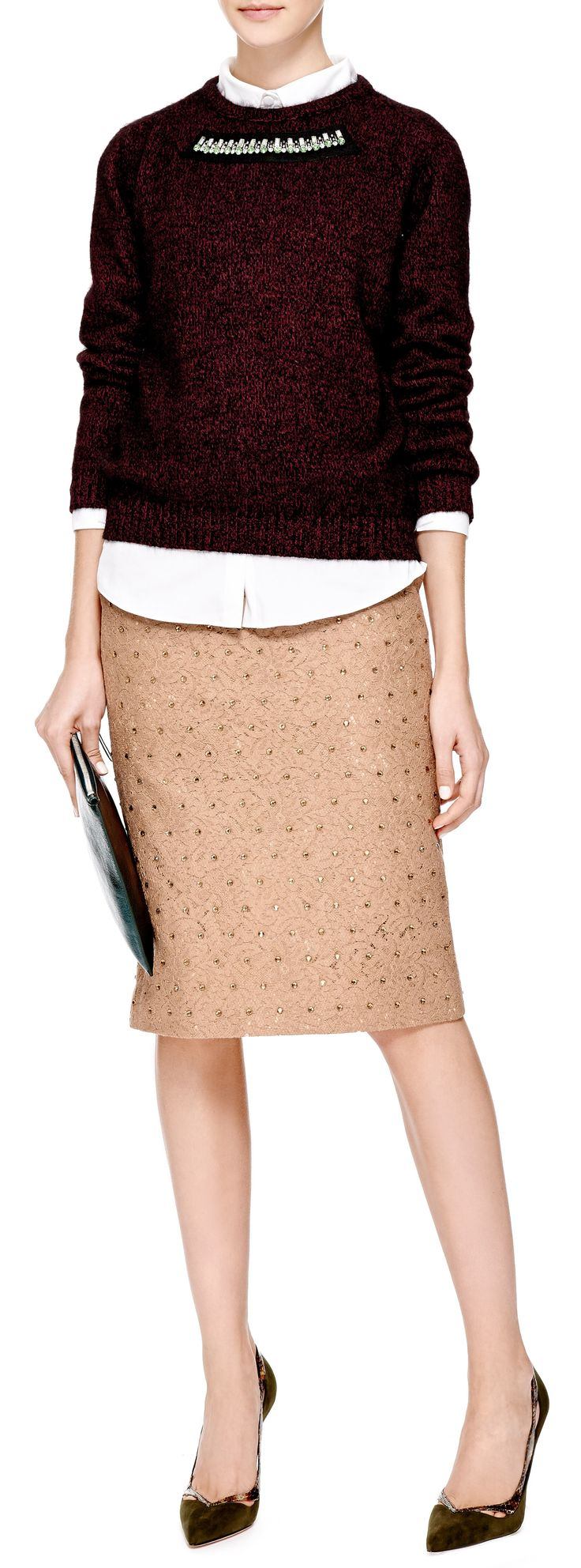 No. 21 Genie Crystal-Embellished Lace Skirt in Camel