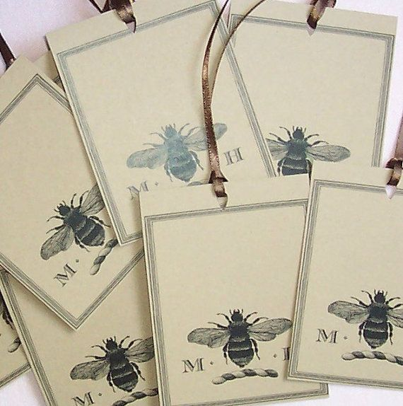 Personalized gift tags & cards from Happy Hound (Bee Napoleonic 18 Personalized Gift Tags with Two Letter Monogram on Brown Kraft Cardstock - $8.95)