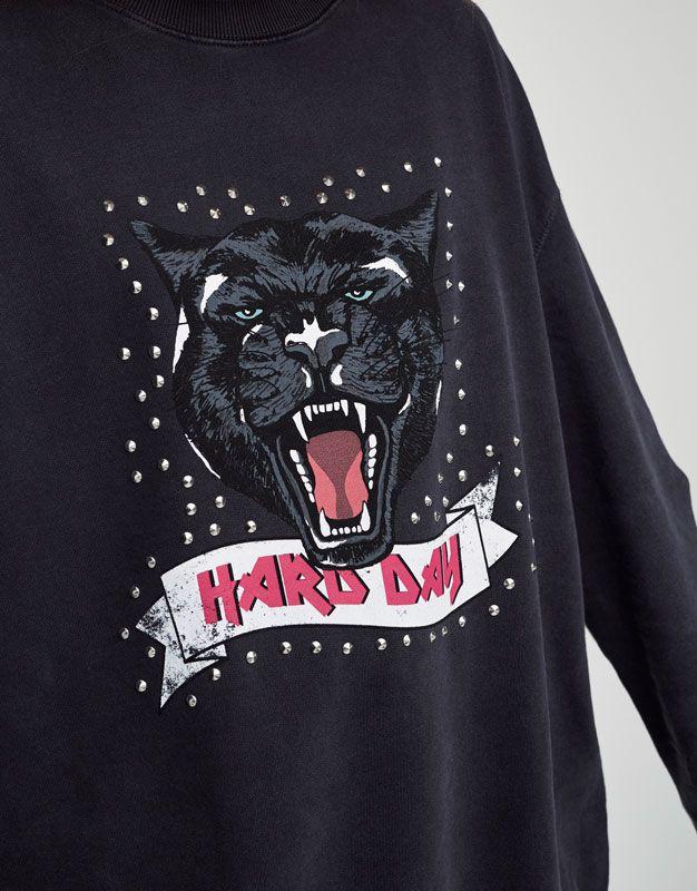 Sweatshirt met studs panterprint - Sweaters - Kleding - Dames - PULL&BEAR Netherlands