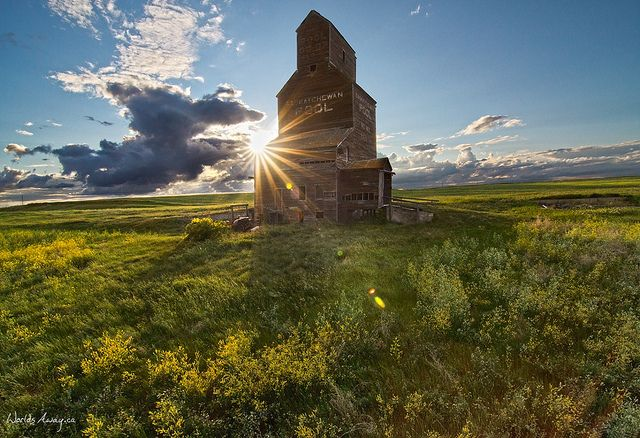 An old grain elevator at Bents, #Saskatchewan.