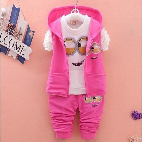 Newest 2017 Baby Girls Boys Minion Suits Infant/Newborn Clothes Sets Kids Vest+T Shirt+Pants 3 Pcs Sets Children Suits