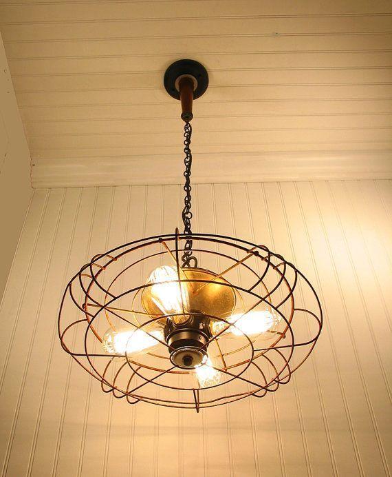 light fixture repurposed from antique fan kitchenlightandfan rh pinterest com