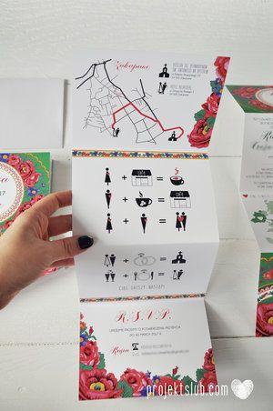 Papeteria ślubna w stylu FOLK z ludowymi motywami kwiatów z chust góralskich i obrazkowym LOVE STORY z historią związku- Projekt Ślub