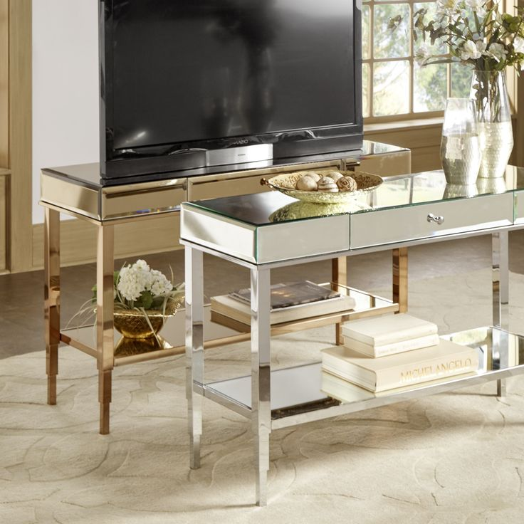Camille Glam Mirrored TV Stand Console Table With Drawer By Inspire Q  (Champagne Gold)