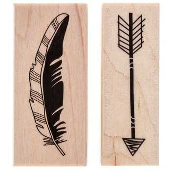 Feather & Arrow Rubber Stamp Set