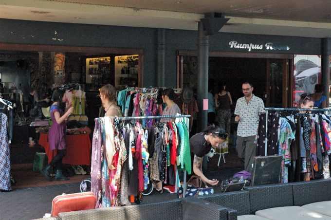 Vintage clothese and wares outside the Rumpus Room in West End