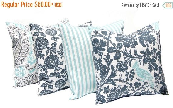 30% Off Sale Throw Pillow Covers - Gray Aqua - Four Decorative Pillow Covers - Sofa Pillow - Aqua Pillow - Stripe Pillow - Charcoal Gray - F by CompanyTwentySix on Etsy https://www.etsy.com/listing/449159060/30-off-sale-throw-pillow-covers-gray