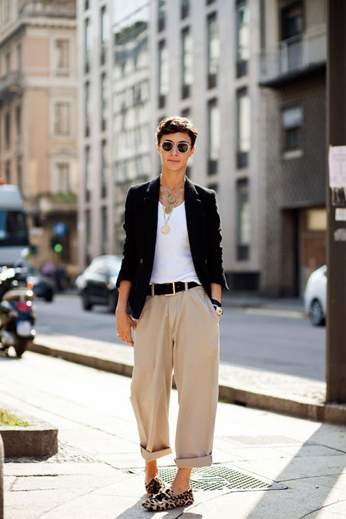 baggy trousers and blazer