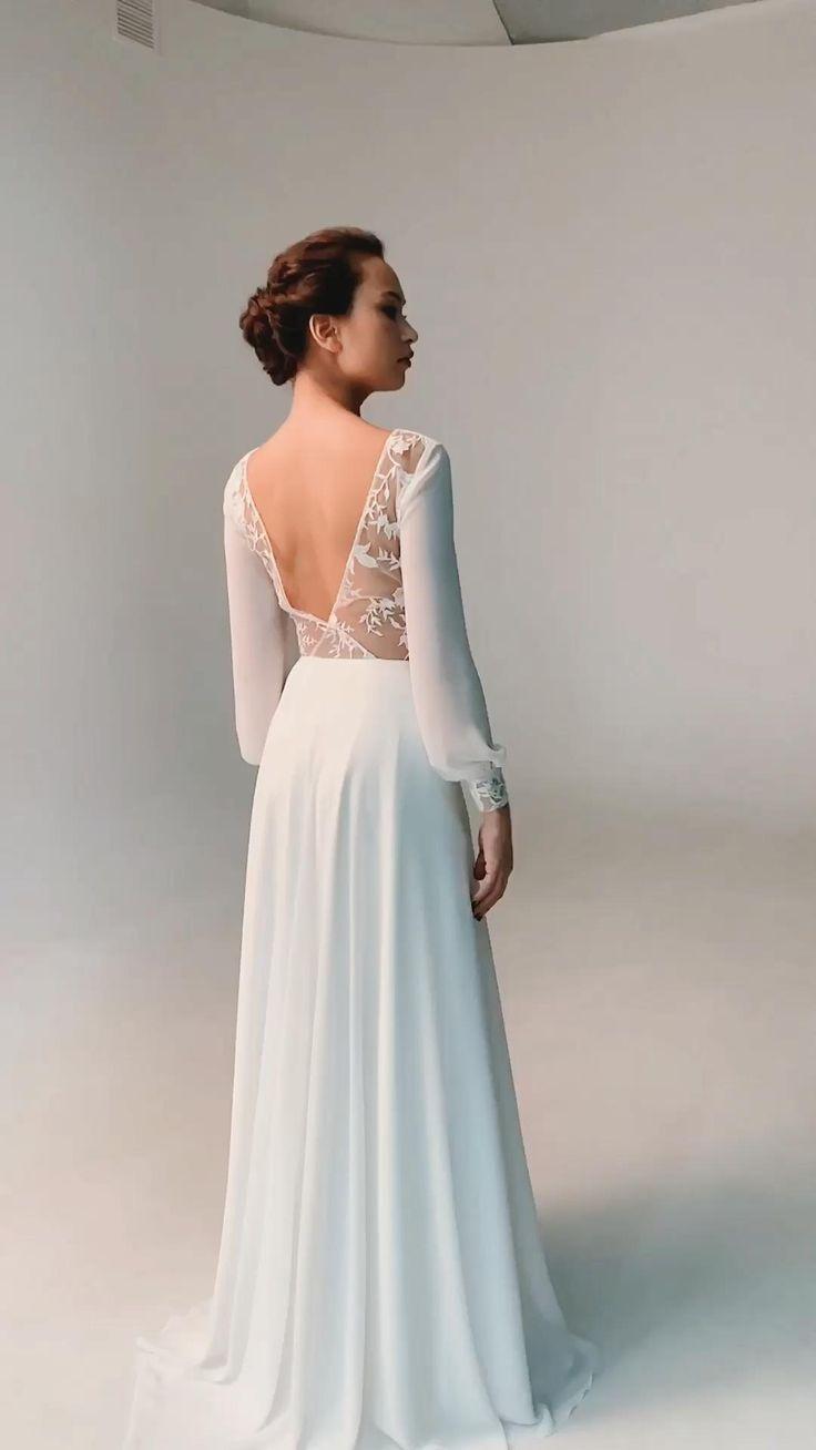 Bohemian Wedding Dress Simple Long Sleeve Wedding Dress Chiffon Wedding Dress Natalia In 2021 Petite Bridesmaids Dresses Bridesmaid Dress Websites Long Sleeve Wedding Dress Simple [ 1308 x 736 Pixel ]