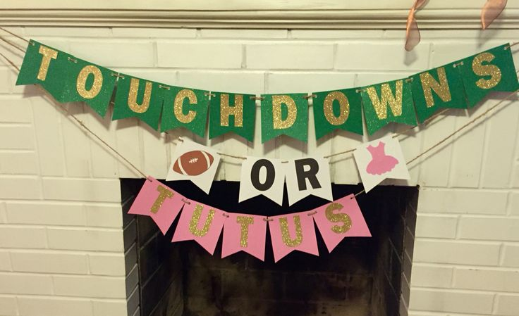 Touchdowns or tutus gender reveal party banner