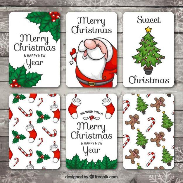 Набор рисованной Рождество и Новый Год карты Бесплатные векторы
