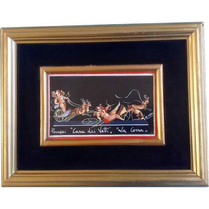 Antonio Caso, Pompeii Casa Dei Vetti La Corsa, Deer and Cherub Angles, Vintage Gouache Watercolor Painting Works on Paper, Signed by Artist