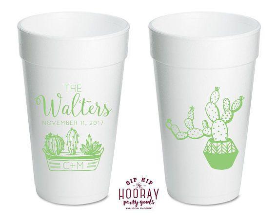 Custom Cups Foam Party Cups Cactus Cup Succulent Favor Cups Weddings Anniversary Housewarming Party Custom Cups Party Cups 1802 by SipHipHooray