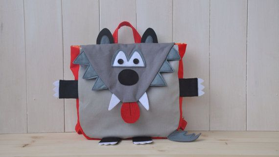"""Backpack """"Wolfy"""" (Beautiful colors for this wolf shape backpack, 100% cotton, adjustable straps, easy velcro closure and lining inside)"""