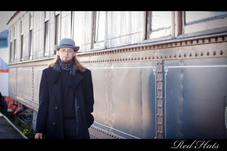 """Купить Шляпа Котелок """"Уинстон"""", материал велюр - серый, шляпа, шляпа с полями, шляпки"""