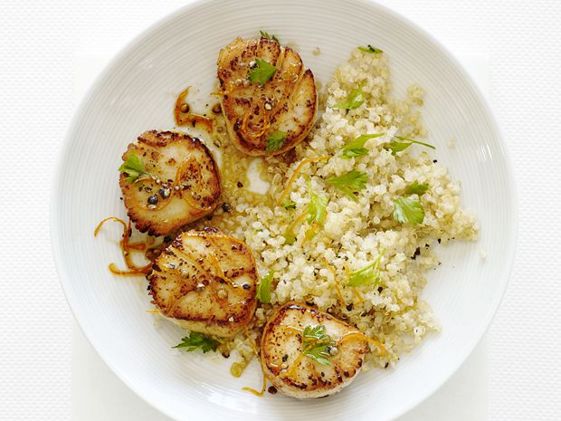 Scallops with Citrus and Quinoa #FNMag #myplate #letsmove #veggies #protein: Food Network, Quinoa Recipe, Easy To Followers Scallops, Scallops Recipe, Whole Grains, Healthy Food, Citrus Scallops, Weeknight Dinners, Citrus Quinoa