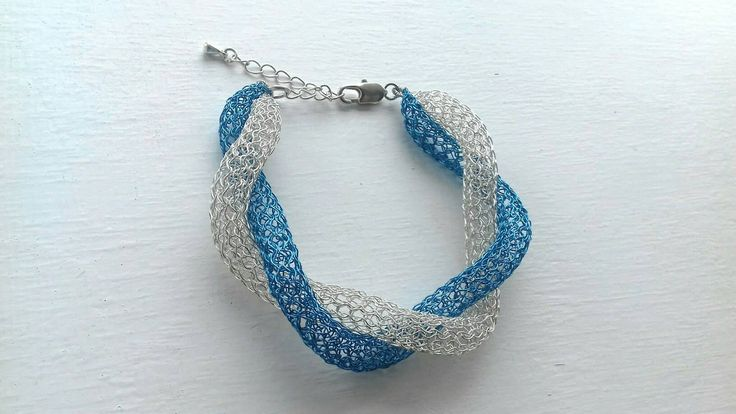 Adjustable  wire crochet bracelet /Handmade  bangle bracelet /Wire mesh  bangle / Woven multicoloured bracelet / Silver bracelet / Organic by KvinTal on Etsy
