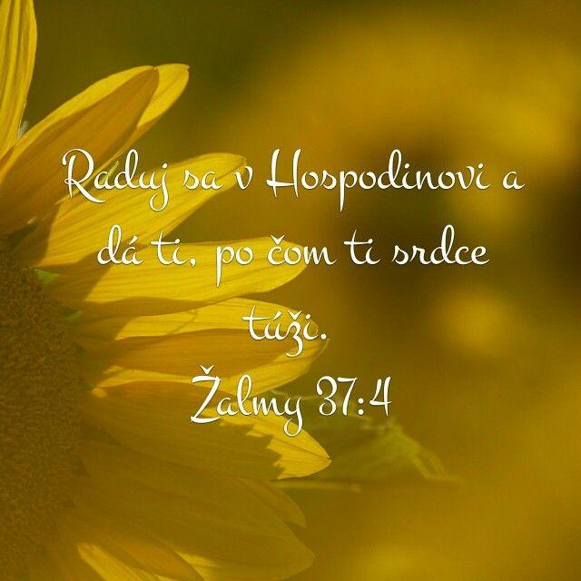 Raduj sa v Hospodinovi a dá ti, po čom ti srdce túži.  Žalmy 37:4