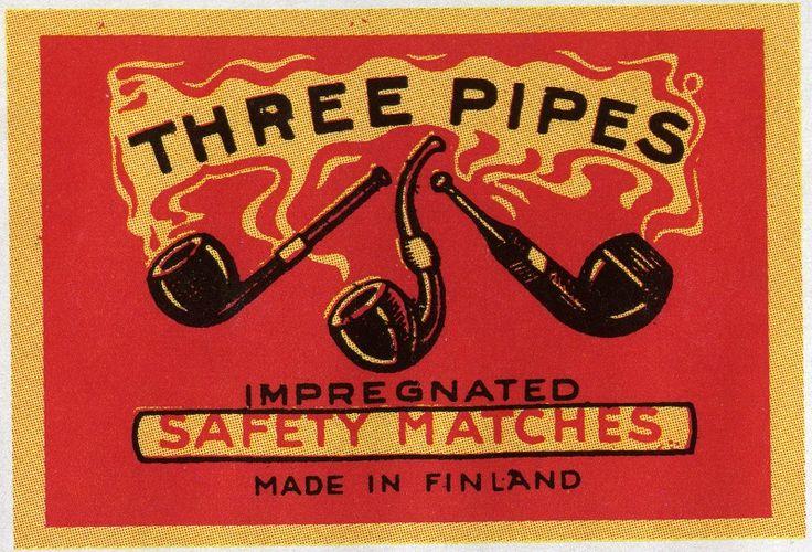Three Pipes, #piiput #tulitikkuetiketit #etiketit #matchbox #labels