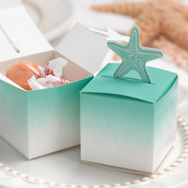 beach wedding shower favor ideas%0A Starfish PopUp Favor Boxes for Beach Themed Wedding So cute for a beachthemed  wedding  Starfish popup favor box in aqua and white  x x Package of
