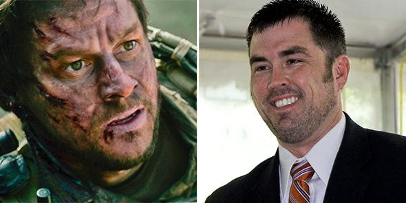 Left: Mark Wahlberg as Marcus Luttrell in Lone Survivor. Right: Marcus Luttrell.