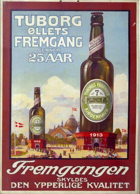 1913 г. В сюжете использована пивная башня Туборг в виде бутылки, которая была установлена на выставке 1888 года. Бóльшая бутылка олицетворяет рост производства за 25 лет. Пивная башня всё ещё существует, она расположена рядом с гаванью Туборга в районе Хеллерупа в Копенгагене