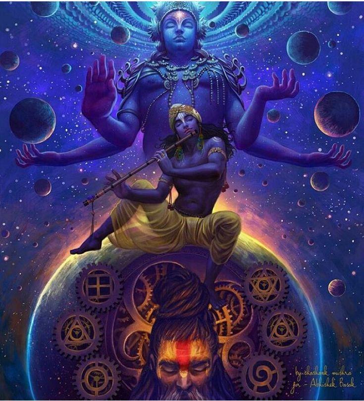 Krishna under Vishnu 8th reincarnation (with flute artefact/symbol), modern interpretation.