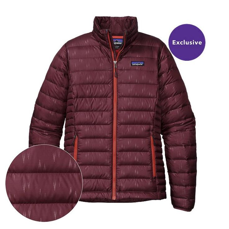 Patagonia Women\'s Down Sweater Jacket - Falling Feathers: Oxblood Red FOXR