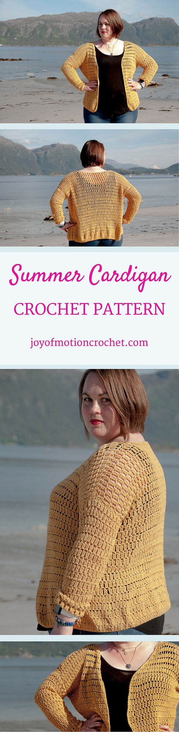 Summer Cardigan Crochet Pattern ★ Crochet pattern for the Summer Cardigan, a lacy and quick cardigan to make. ★ Perfect to make for the warmer season. ★ S-XL. ★ Skill level: EASY ★ Language: English / US crochet terms. The Summer Cardigan crochet pattern is a pattern that's perfect for summer. It's designed with cotton yarn, which makes it a good fit for the warmer season. It stitches up quickly and you'll be able to make it in just one week or less with crocheting a few hours each day...