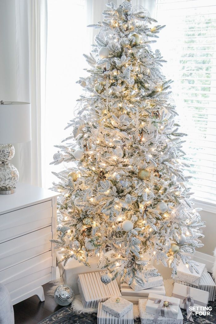 Flocked Christmas Tree White And Gold Glam Style Flocked Christmas Trees Glamorous Christmas White Christmas Tree Decorations