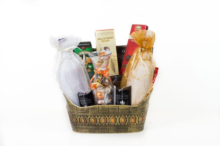 #Wine #Custom #Gift #Baskets #Ottawa #Canada #Weddings #Anniversaries #Showers, includes a bottle of Red and White, #Ice Wine Chocolates, #Lindt #Truffles, tasty treats and snacks $100.00
