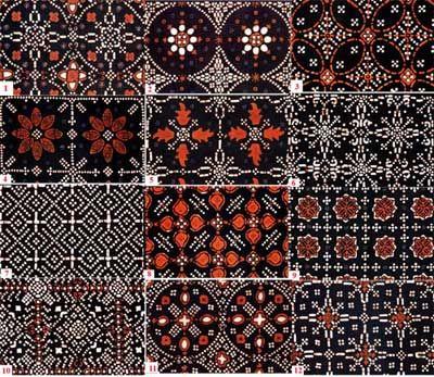 Classification of Yogya Nitik Batik Motif:   1.Klampok arum; 2. Kemukus; 3. Kawung nitik; 4. Karawitan; 5. Jayakusuma; 6. Jayakirana; 7. Gendangan; 8. Cinde wilis; 9. Ceplok liring; 10. Cakar ayam; 11. Brendhi; 12. Arumdalu