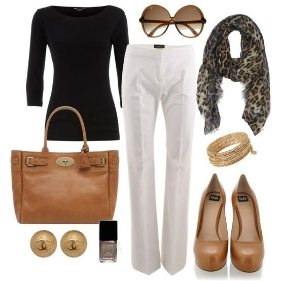 classy, classy, classy!Fashion, Style, Clothing, Black White, White Pants, Workoutfit, Animal Prints, Work Outfit, Whitepants