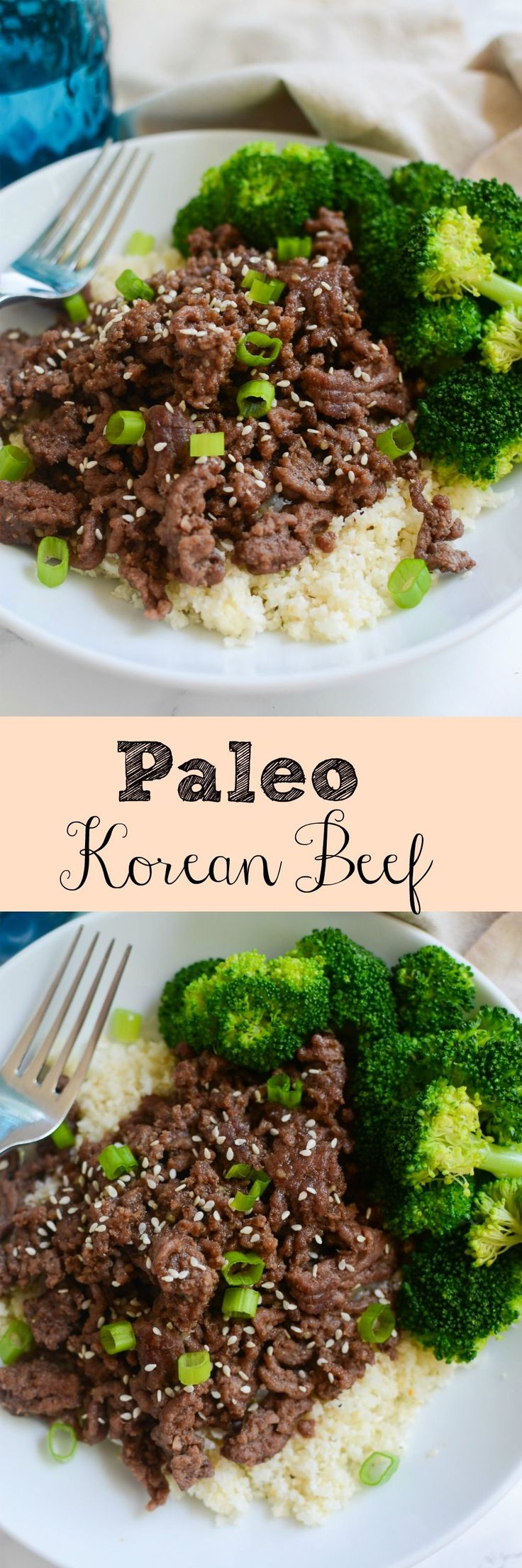 Paleo Korean Beef Bowls - delicious 20 minute meal! Spicy and sweet beef served over cauliflower rice!: