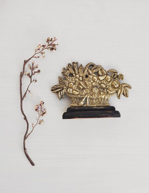 "Vintage Brass Fruit Flower Basket Figurine - 3.5"" antique Victorian fireplace mantel ornament shelf decoration  by CuriosityCabinet"