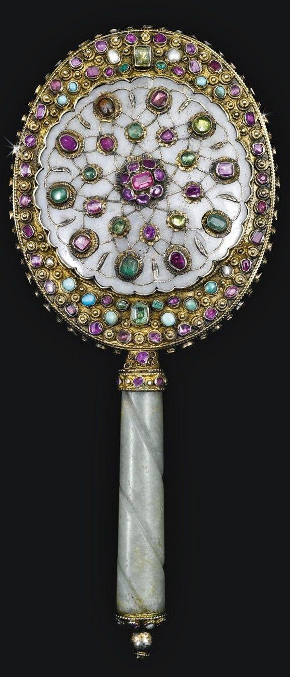 An Ottoman gem-set and jade mirror, Turkey, 17th/18th century.