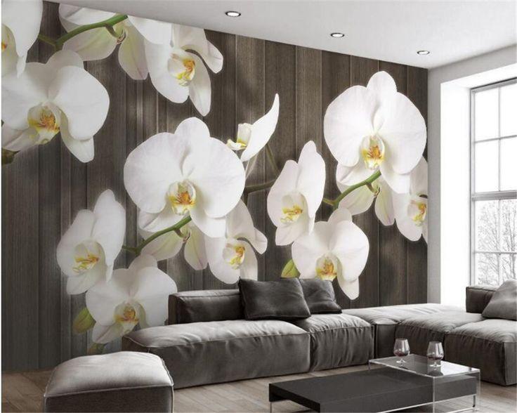 Beibehang 3d wallpaper 3d stereo butterfly flower wood grain modern 3D living ro…