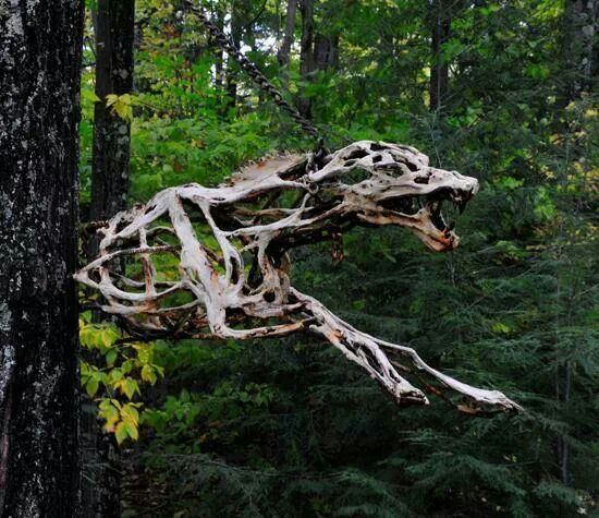 Scary wood sculpture