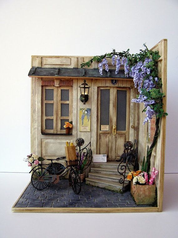 Hand-made miniature scene 1:12 scale Pension Glicyne by Pequeneces