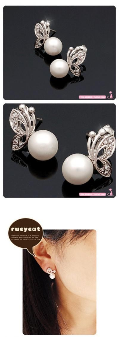 $0.99 Faux Pearl Earring Crystal Butterfly Alloy Wedding Bridal Stud Earrings - BornPrettyStore.com