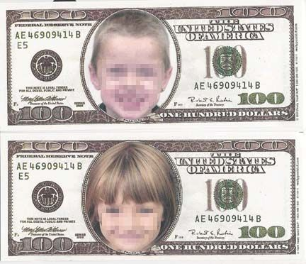 100th day of school - purchase pad of pretend 100 dollar bills and glue students pictures in place of the real picture. Too fun!