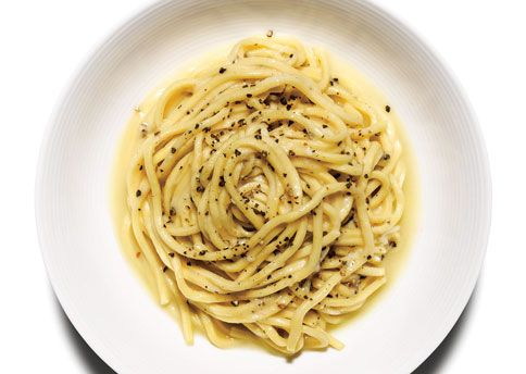 Cacio e Pepe  -- If one pasta dish exemplifies the complexity of pan sauce precision, it's cacio e pepe (literally, cheese and pepper). The minimalist recipe calls for only a few ingredients and doesn't even include garlic. It's a simple standard by which cooks are measured, yet no two chefs agree on how to do it right.