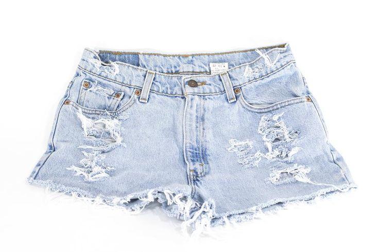 ALL SIZES LEVI Denim Cutoff Shorts Tattered Blue 1970s Distressed Highwaist High Cut Jean Shorts