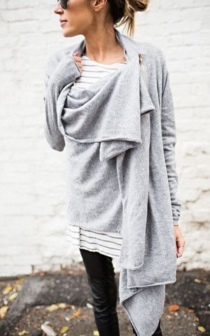 Ily Couture Grey Zip Cardigan