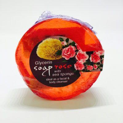 Loofah Glycerine zeep met zee spons en rozengeur. Gezichtzeep