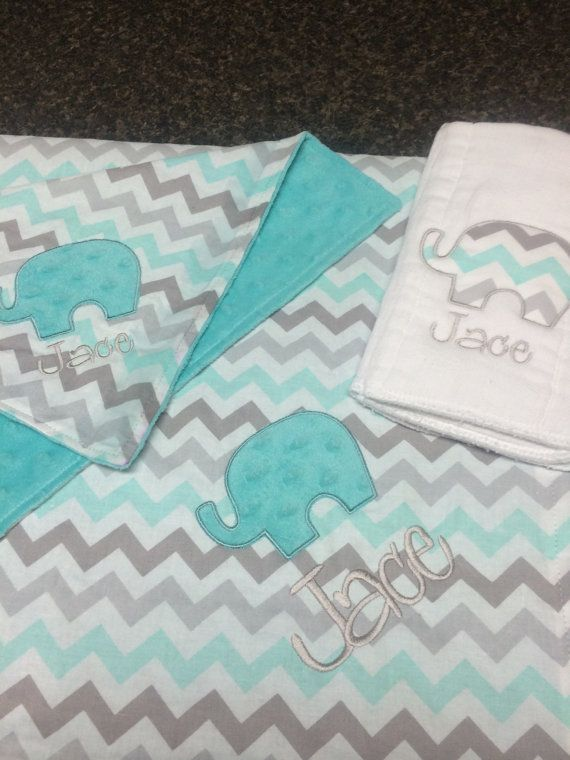 Personalized* Aqua and gray elephant baby shower gift set, personalized chevron blanket, matching lovey and burp cloth, aqua teal grey baby
