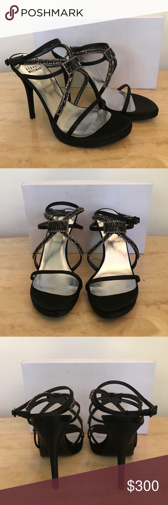 BRAND NEW! Stuart Weitzman Embellished Sandal Black satin embellished sandal never been worn. Comes with original box. Make an offer or bundle for additional savings. Stuart Weitzman Shoes Sandals