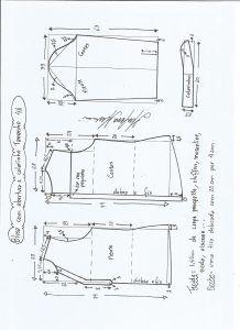 Блуза схема моделирования с открытием и средним воротником размер 46.
